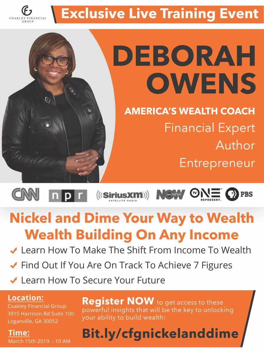 Come to this EXCLUSIVE - Live Training Event with @deborahowens Register at http://bit.ly/cfgnickelanddime…
