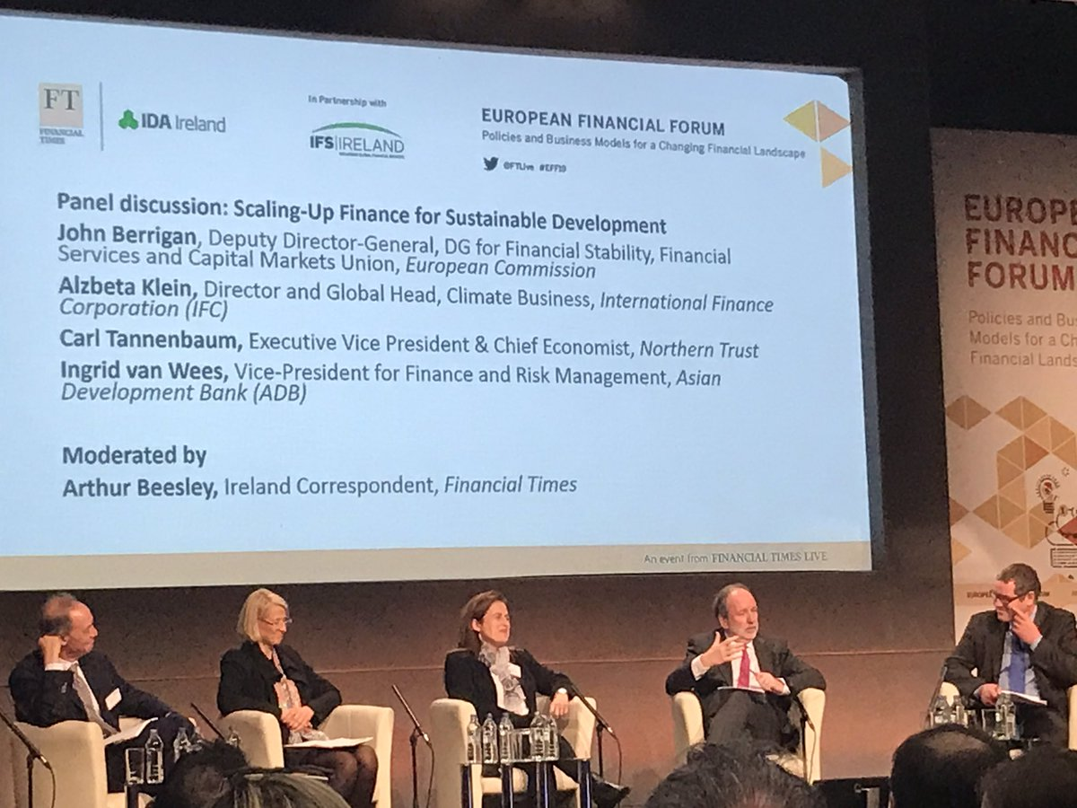In Ireland today for the @ftlive European Financial Forum. Panel on 'scaling up finance for sustainable development' on now. Great to see @IFC_org @AlzbetaKlein and @EU_Commission #DGFISMA Deputy DG John Berrigan on the panel. #sustainablefinance @LBA_Banking @FinforTomorrow