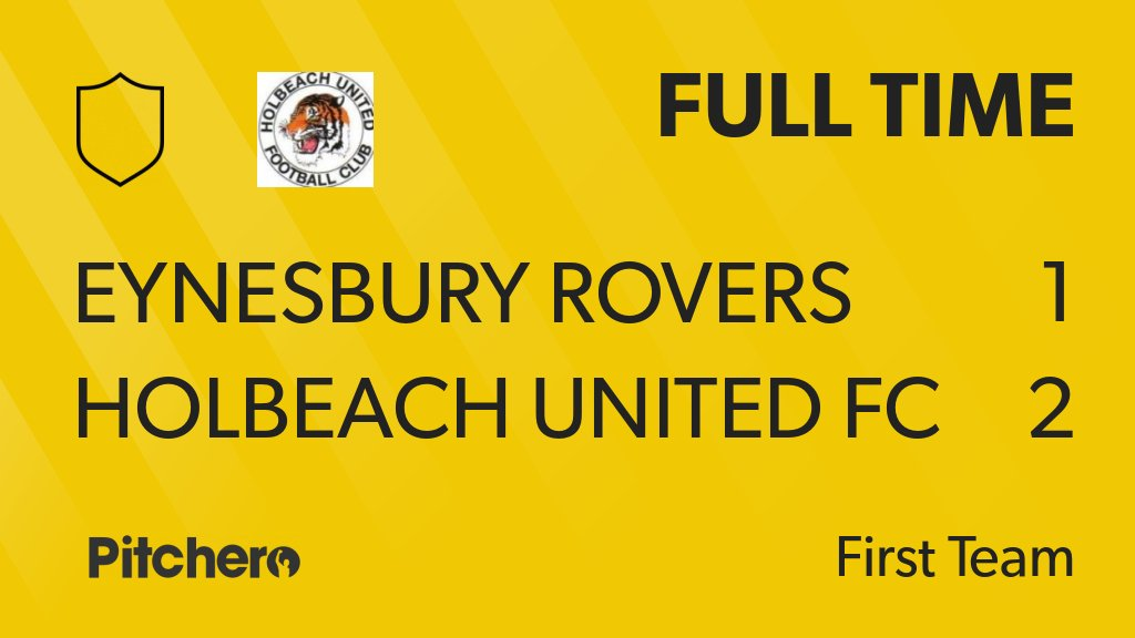FULL TIME: Eynesbury Rovers 1 - 2 Holbeach United FC #EYNHOL #Pitchero http://www.pitchero.com/clubs/holbeachunitedfc/teams/95044/match-centre/0-4311609?utm_campaign=score_update&utm_medium=post&utm_source=twitter&utm_content=FT …