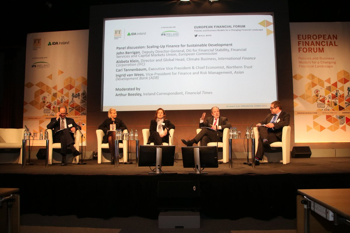 Alzbeta Klein @IFC_org, Carl Tannenbaum @NorthernTrust, Ingrid van Wees @ADB_HQ and John Berrigan @EU_Commission are currently discussing 'Scaling-Up Finance for Sustainable Development' with @ArthurBeesley #EFF19