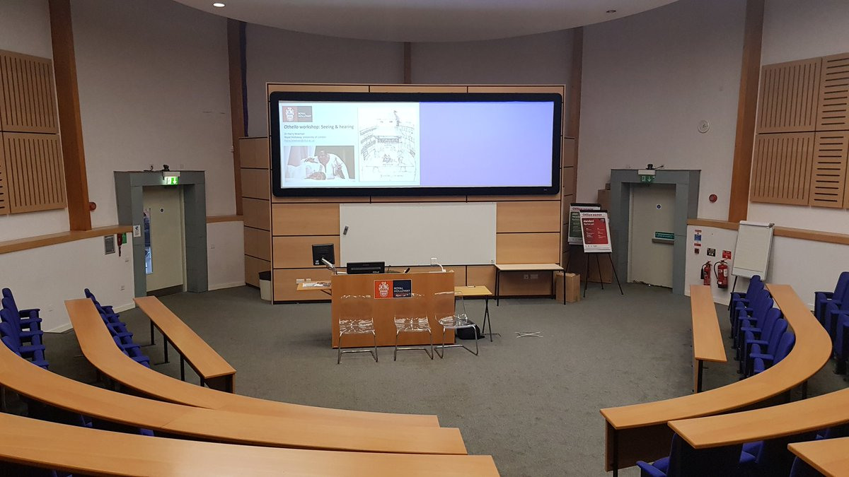 Dr Harry Newman is all set up and ready to go for his TeacherHub Othello day lecture on seeing and hearing in #Othello! #KS5