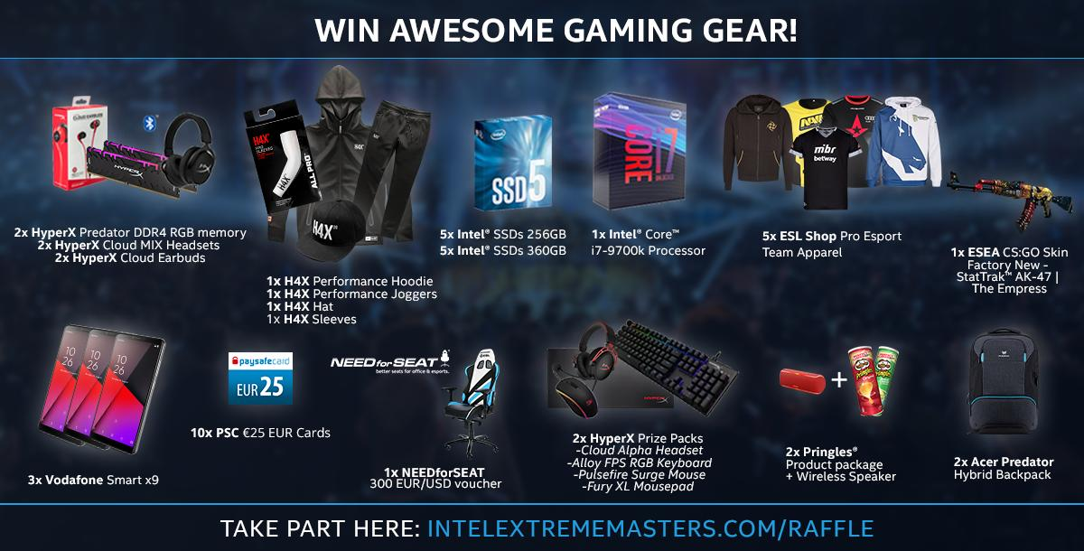 Join the #IEM Katowice 2019 giveaway for a chance to win awesome prizes from @intelgaming @HyperX @VodafoneGaming @NEEDforSEAT  @paysafecard @Pringles @PredatorGaming @H4Xgg & @ESLShop!  http://intelextrememasters.com/raffle