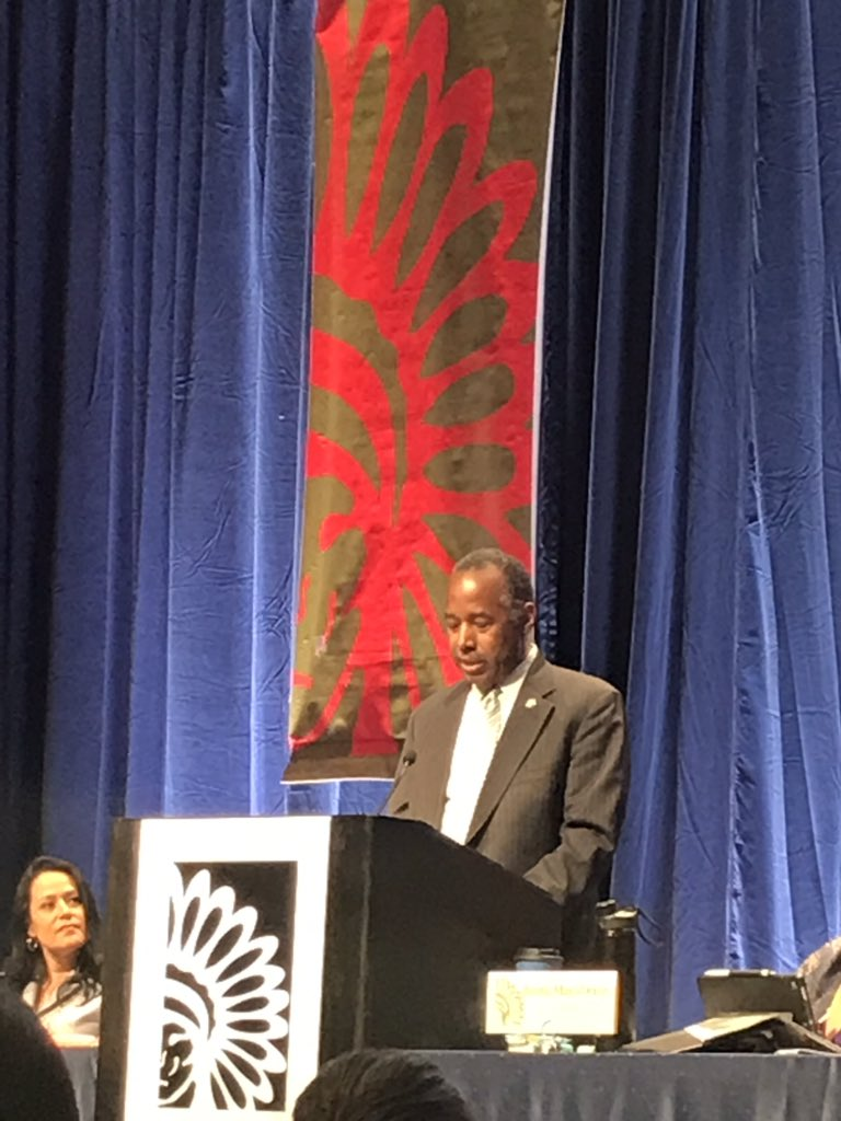 ".@SecretaryCarson, Department of Housing and Urban Development, addresses Indian Country, encouraging Tribal leadership to ""take full advantage""of IHBG funding. States that they have commenced a listening tour in Indian Country to hear the challenges and needs of Tribes #ECWS19"