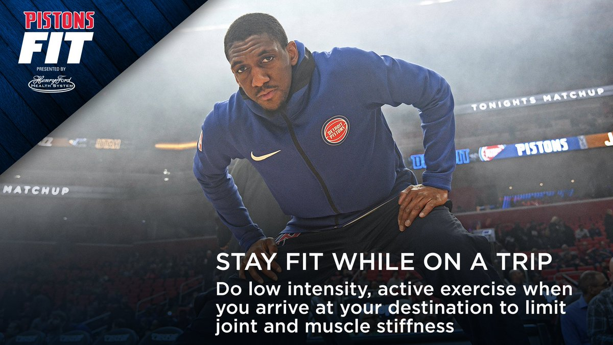 Some light exercise when you're on a trip can really help you stay loose.  It's this week's #PistonsFit tip presented by @HenryFordNews