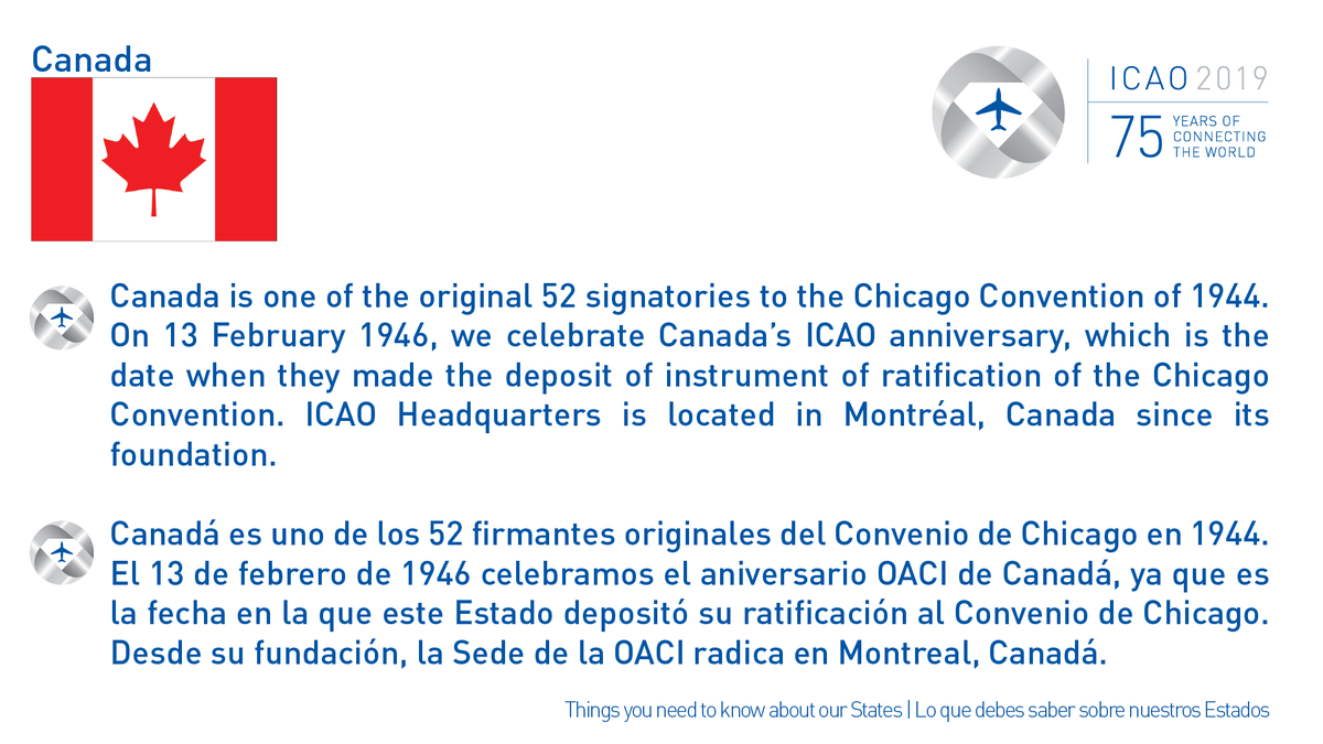 We congratulate Canada, @Transport_gc, @navcanada and all our colleagues who work in civil aviation for their ICAO Anniversary! Beautiful Canada is the host of @icao Headquarters!  #ICAO75 #aviation #aviación #NAMCARRegions #ICAONACC #OACINACC