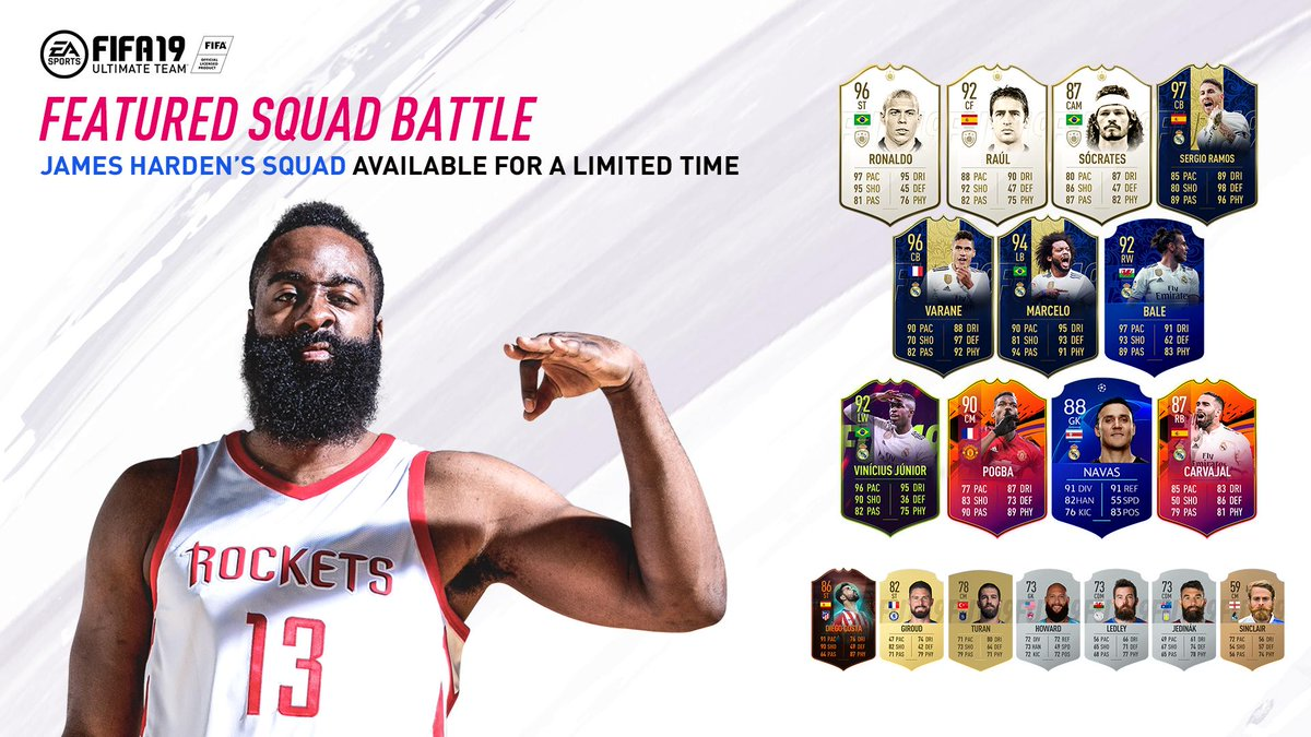 Challenge @JHarden13's squad in the Featured Squad Battle this week! #FUT