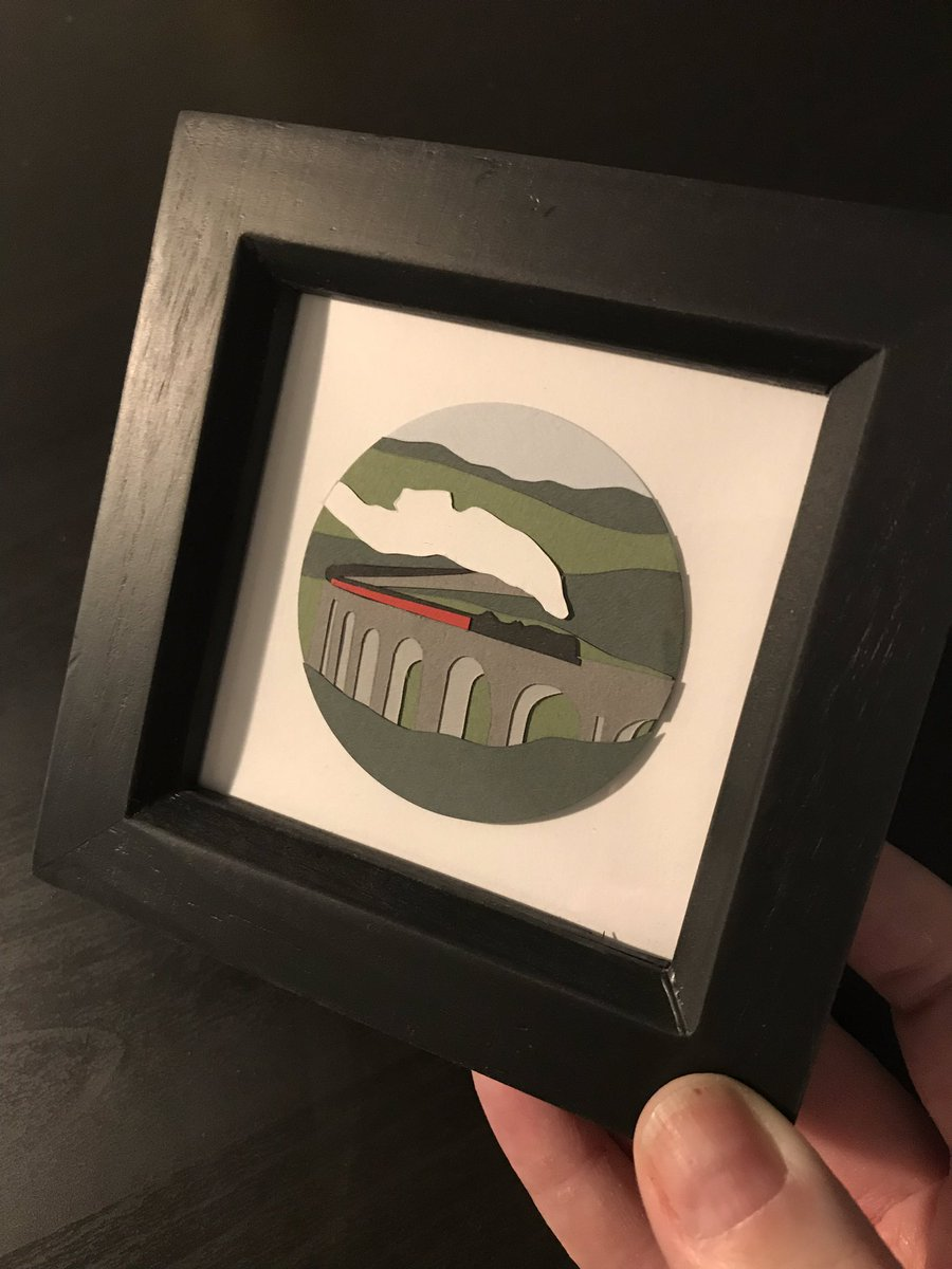 Glenfinnan Viaduct was defo a favourite miniature landscape for a while coming in at only 6cm Dia approx !! #artist #design #handmadehour #paperart #papercraft #paperartist #papercut #landscape #architecture #etsy #etsyseller #miniatures #sale