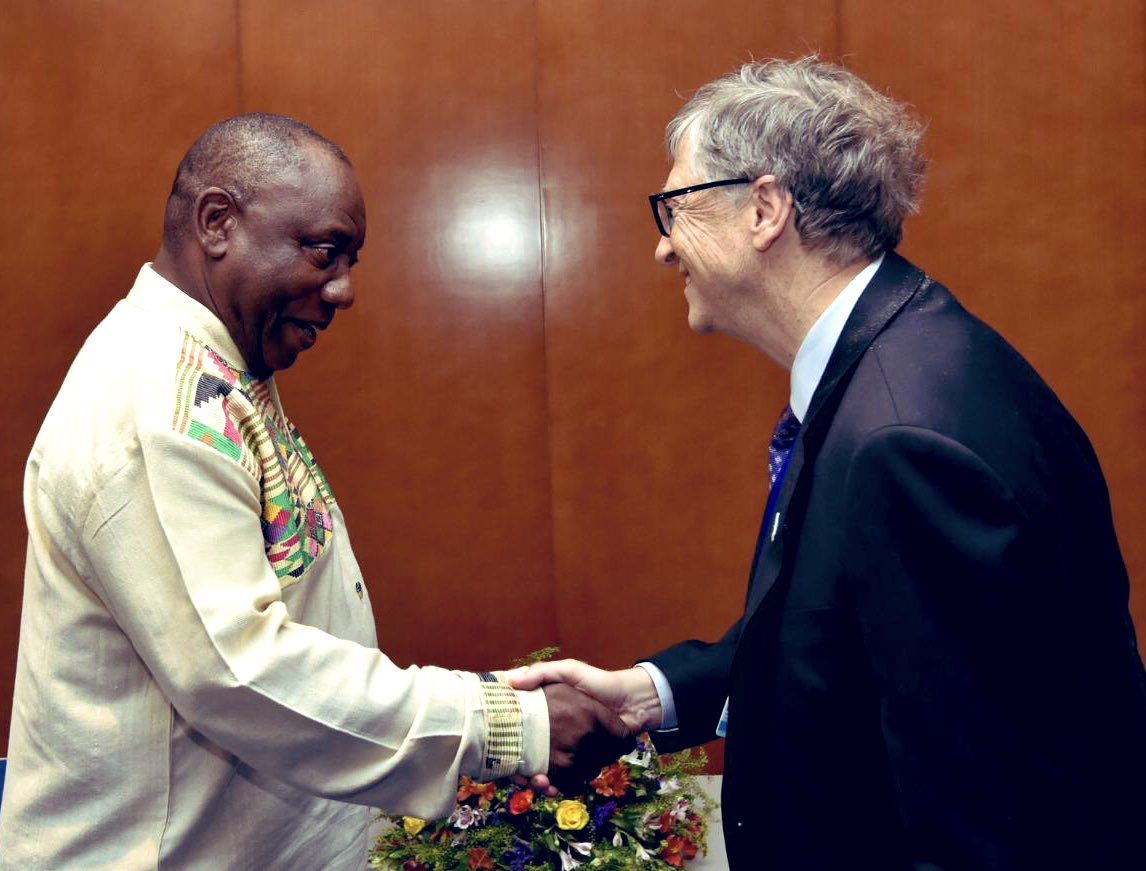 "Cyril Ramaphosa 🇿🇦 #StaySafe on Twitter: ""Talking to you @BillGates is always uplifting. The work you are doing through the Bill & Melinda @GatesFoundation and your unwavering commitment to improving the health"