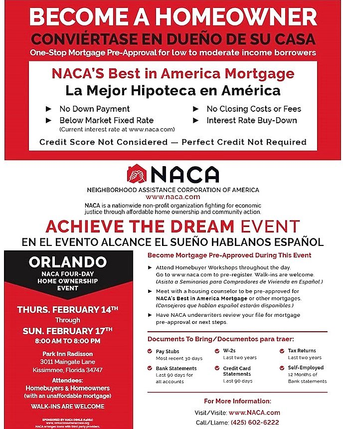 NACA's first Achieve the Dream event of 2019 OPENS TOMORROW in the #ORLANDO area and runs through 17th at the Park Inn Resort & Conference Center, 3011 Maingate Ln, Kissimmee, FL 34747. 8:00 am to 8:00 pm each day. Register now at http://www.naca.com !
