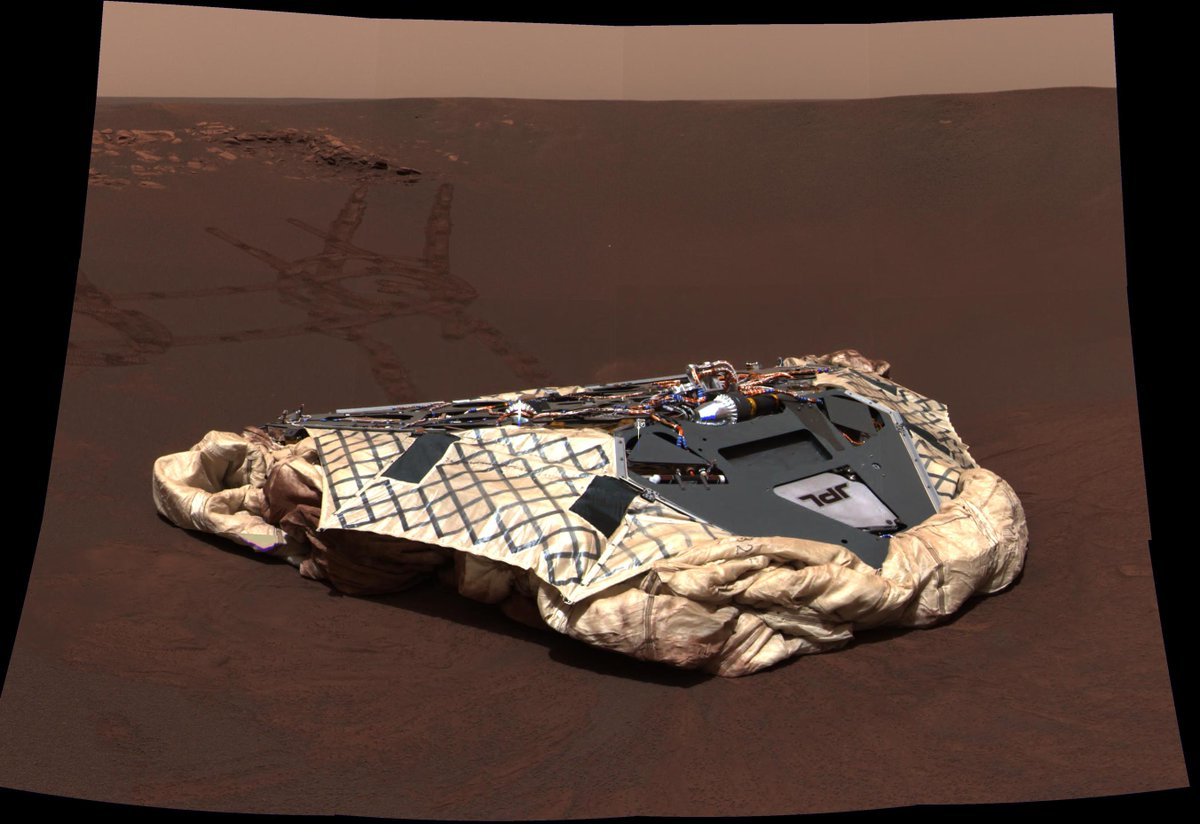 The golf-cart sized Opportunity rover bounded onto the surface of Mars on Jan. 24, 2004 PST https://go.nasa.gov/2E9NDwO   #ThanksOppy