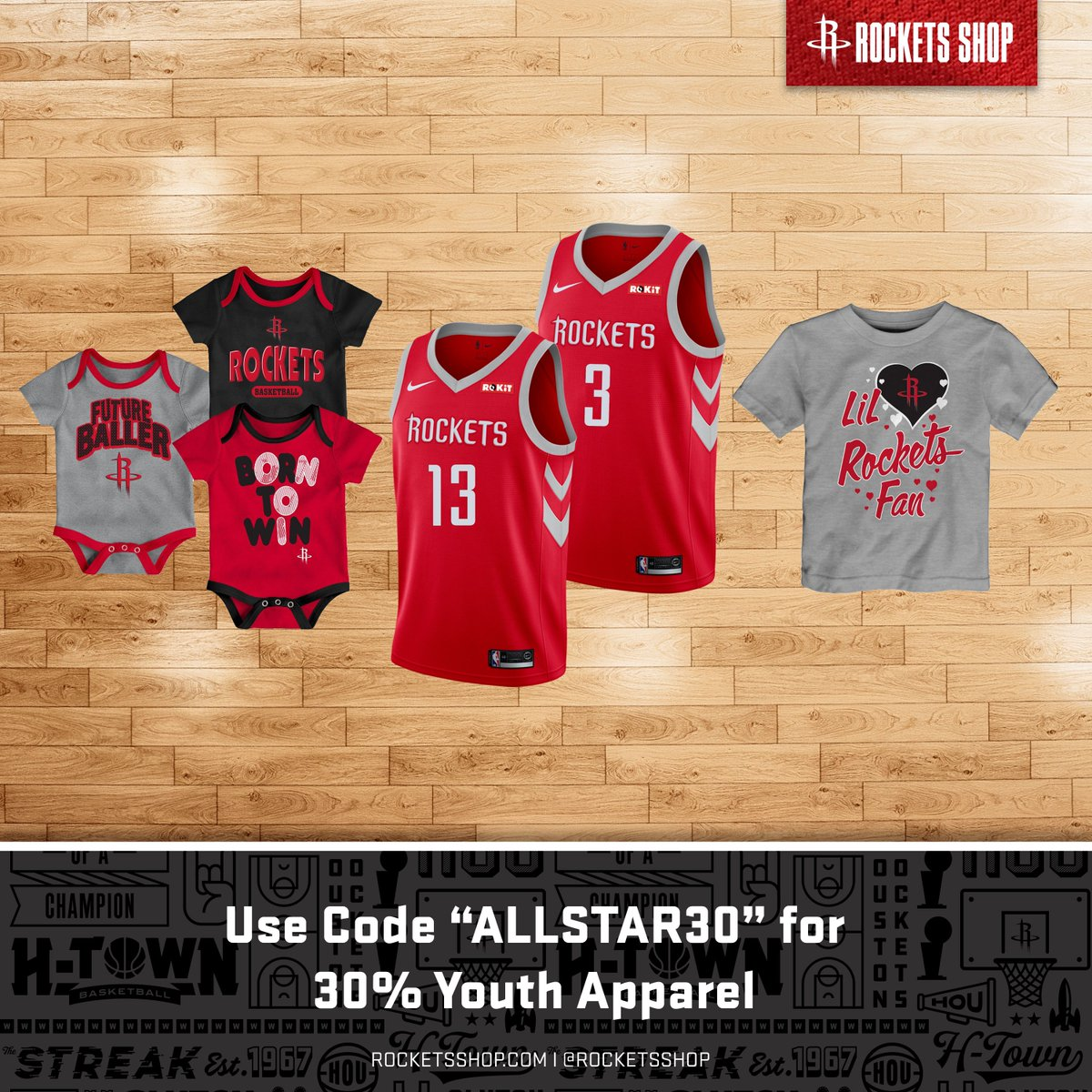 """🚨 Flash Sale 🚨  30% OFF Youth Apparel Items Including Jerseys   Use Code """"ALLSTAR30"""" (Valid until 2/17   Shop Now » http://bit.ly/2I9sQNW"""