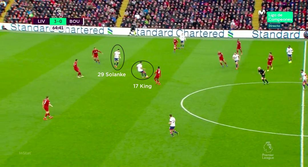 The extra man also gave King someone nearby to combine with when the ball was played into his feet. #LIVBOU