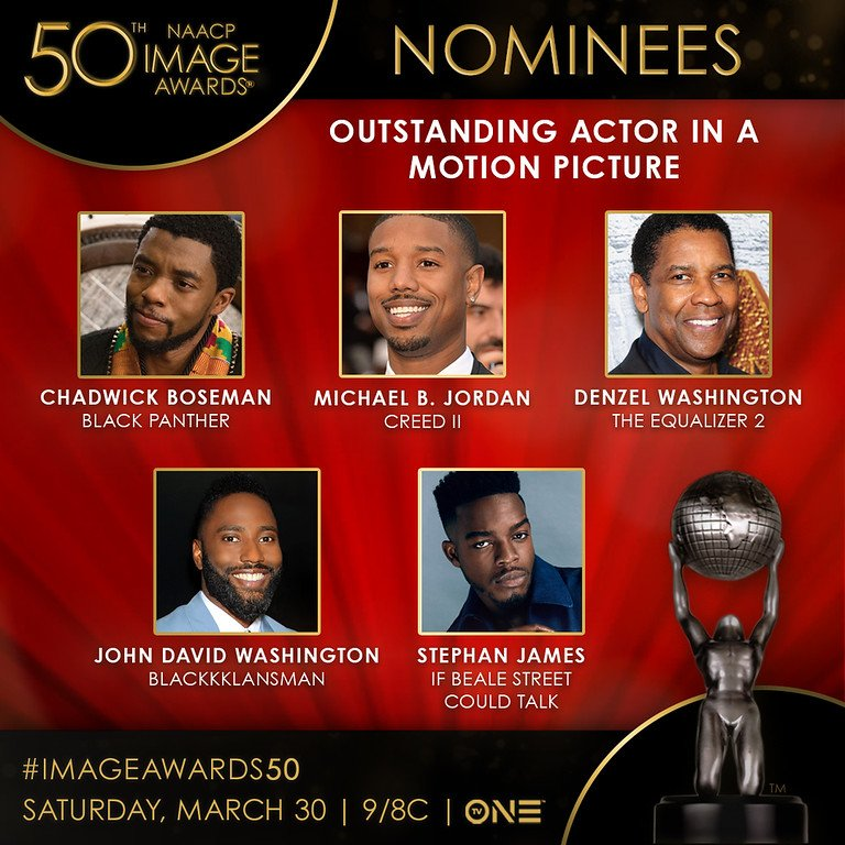 The nominees for Outstanding Actor in a Motion Picture are @chadwickboseman, @michaelb4jordan, Denzel Washington, John David Washington, and @realstephj. #ImageAwards50<br>http://pic.twitter.com/qnIkZVjqON