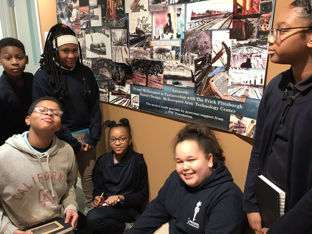 Students posing in front of a collage poster made during year 6 of the now 8 year partnership between Propel Mckeesport and the Frick Pittsburgh. @PropelSchools @TheFrickPgh @AgencybyDesign<br>http://pic.twitter.com/yhOyE5Q3ZJ