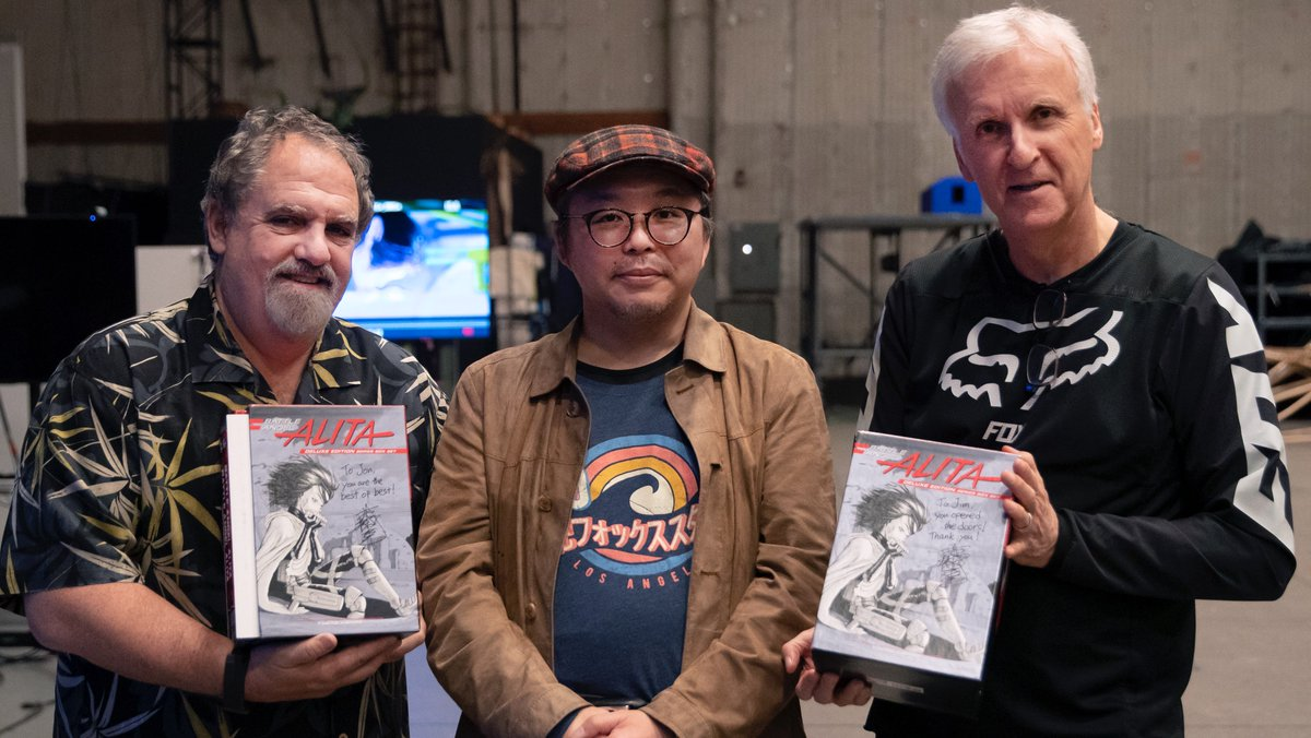 We were honored to have Yukito Kishiro, the man who created Alita, at @Lightstorm_Ent for a visit last week. Here we are exchanging gifts during our tour around the facility.   Thank you isn't enough, but thank you Kishiro-san.