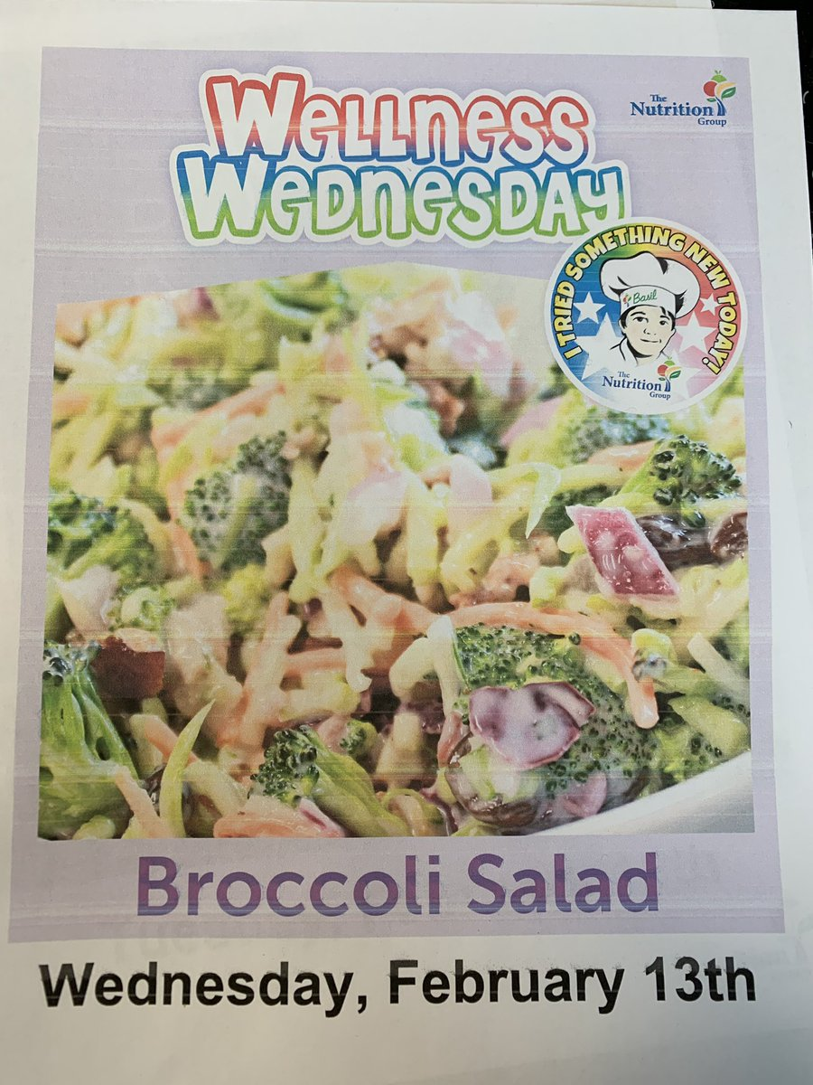 Join us today for our monthly Wellness  Wednesday feature, Broccoli Salad at Twin Rivers!  #itriedsomethingnew<br>http://pic.twitter.com/NKolkbEZE6 &ndash; à Twin Rivers Primary School