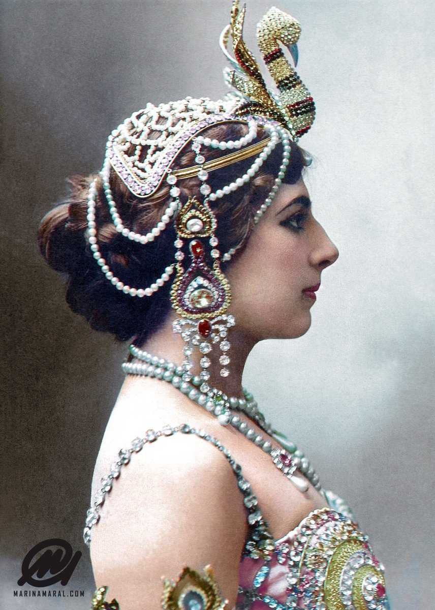 "On this day in 1917: Dutch exotic dancer Mata Hari is arrested in Paris on suspicion that she is a German spy.  ""A harlot? Yes, but a traitoress, never!"" — Phrase attributed to Mata Hari during the trial."