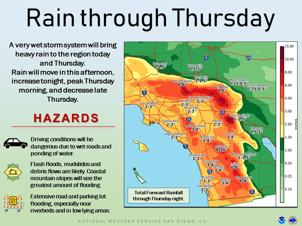 Updated forecast rainfall totals through Thursday night  / The heaviest rainfall will occur late tonight through Thursday afternoon / A Flash Flood Watch is in effect for all areas except the lower deserts from 4 AM through 10 PM Thursday #cawx #castorm #rain<br>http://pic.twitter.com/3x0uEZCXkx