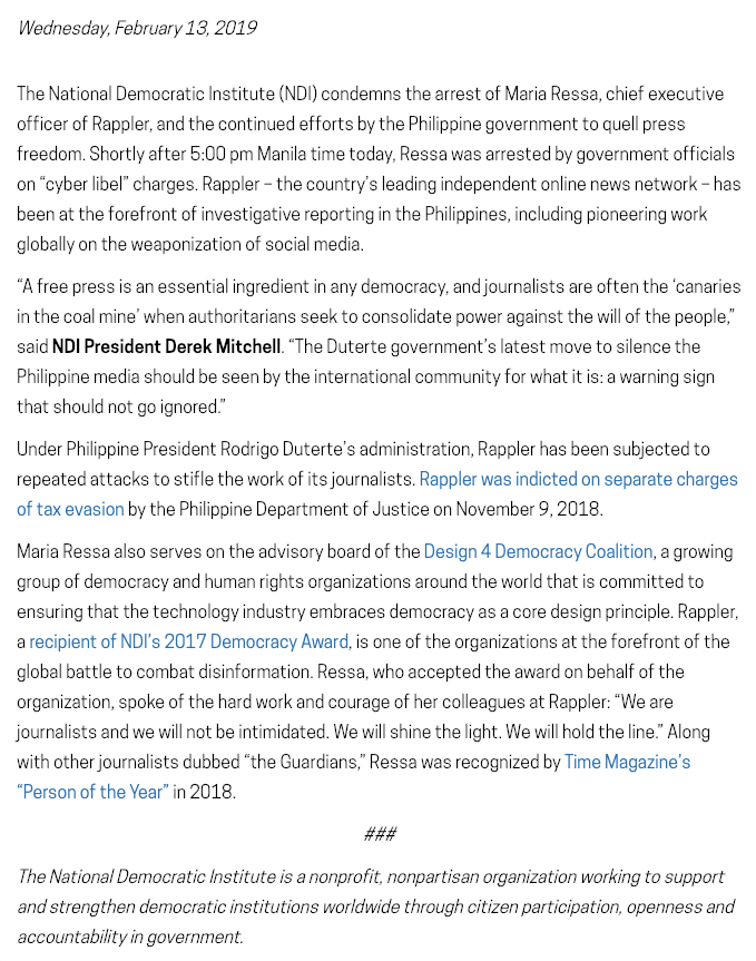 NDI condemns the arrest of @mariaressa, chief executive officer of @rapplerdotcom, and the continued efforts by the Philippine government to quell press freedom. https://www.ndi.org/publications/ndi-condemns-arrest-journalist-maria-ressa-continued-efforts-silence-philippine-media…
