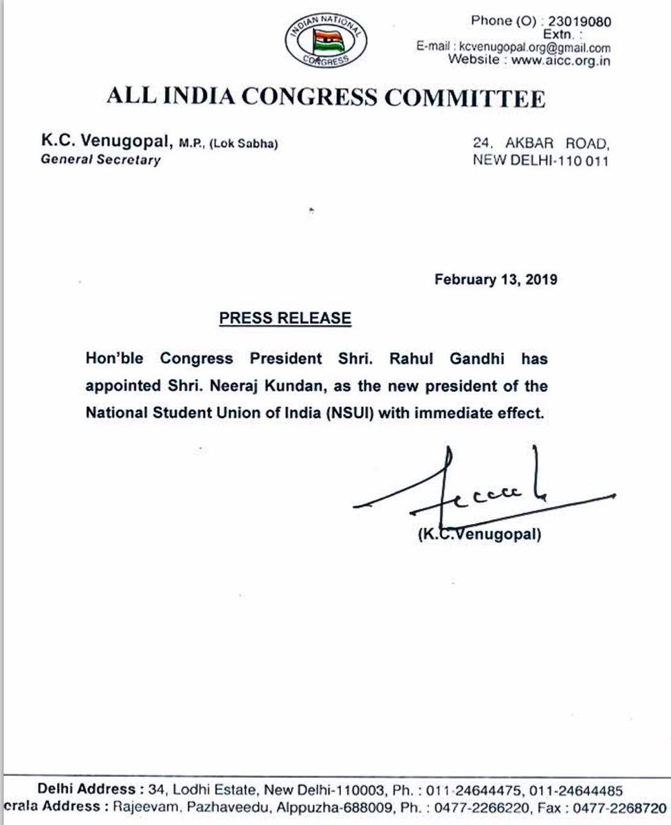 Congratulations @Neerajkundan   May you raise the flag of @nsui even higher.  Best wishes!