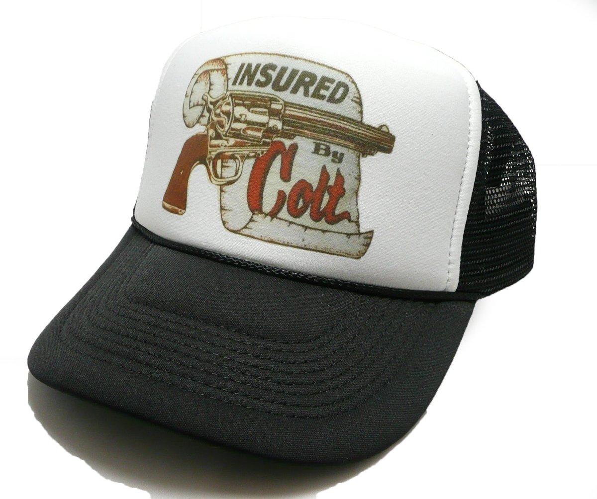 54a2abf7 ... shop: Vintage Insured by Colt hat trucker hat adjustable snapback hat  black new unworn https://etsy.me/2WVCrv3 #accessories #hat #colttruckerhat  ...