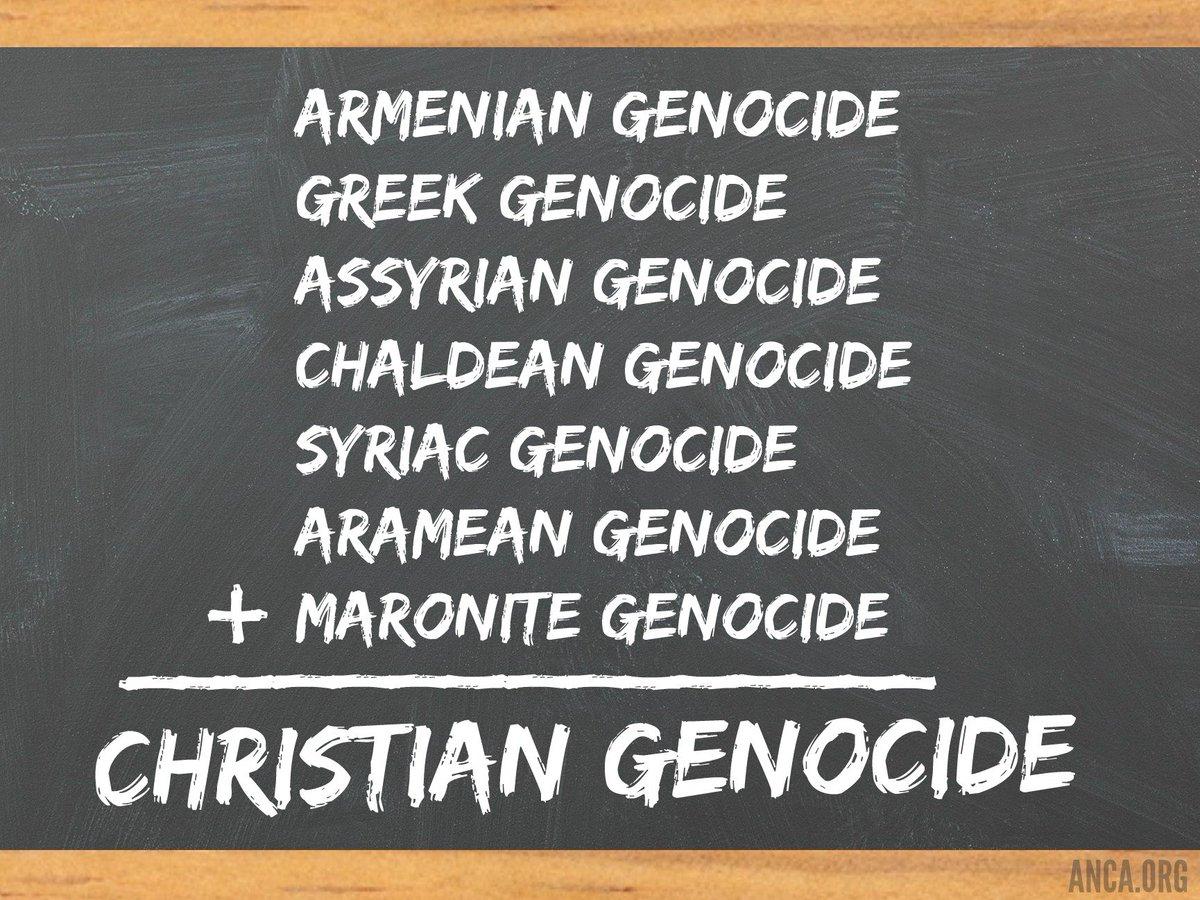 History 101:     #Armenian Genocide    #Greek Genocide    #Assyrian Genocide    #Chaldean Genocide    #Syriac Genocide    #Aramean Genocide + #Maronite Genocide _______________________ = #Christian #Genocide