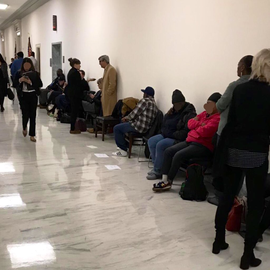"Shock doesn't begin to cover it.  Today I left a hearing on homelessness & saw tons of people camped outside committee.  I turned to my staff and asked if it was a demonstration.  ""No,"" they said. ""Lobbyists pay the homeless + others to hold their place so they can get in 1st."""