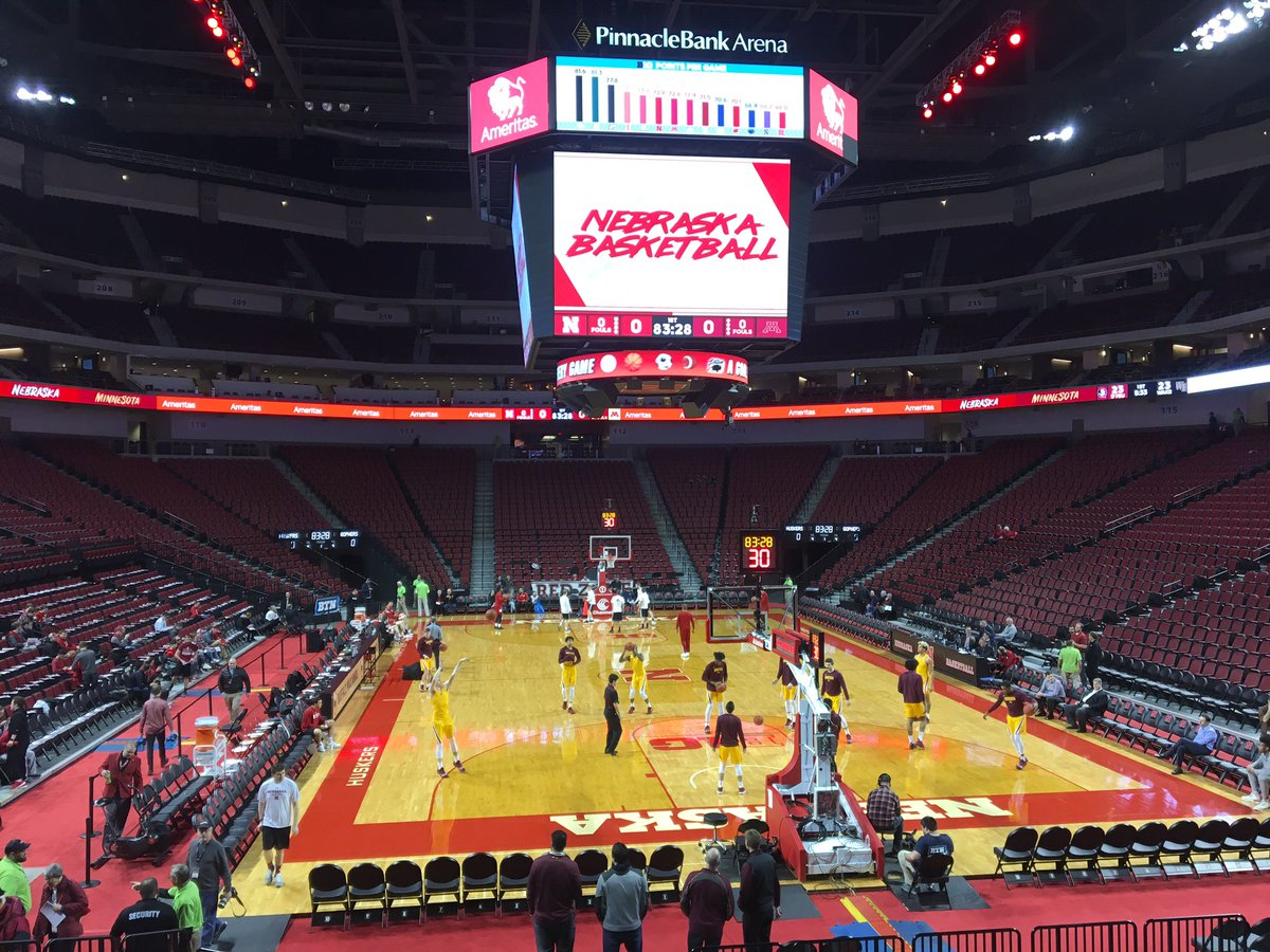 Checking in for tonight's game @GopherMBB at @HuskerHoops at Pinnacle Bank Arena in Lincoln 8 pm CT on @BigTenNetwork