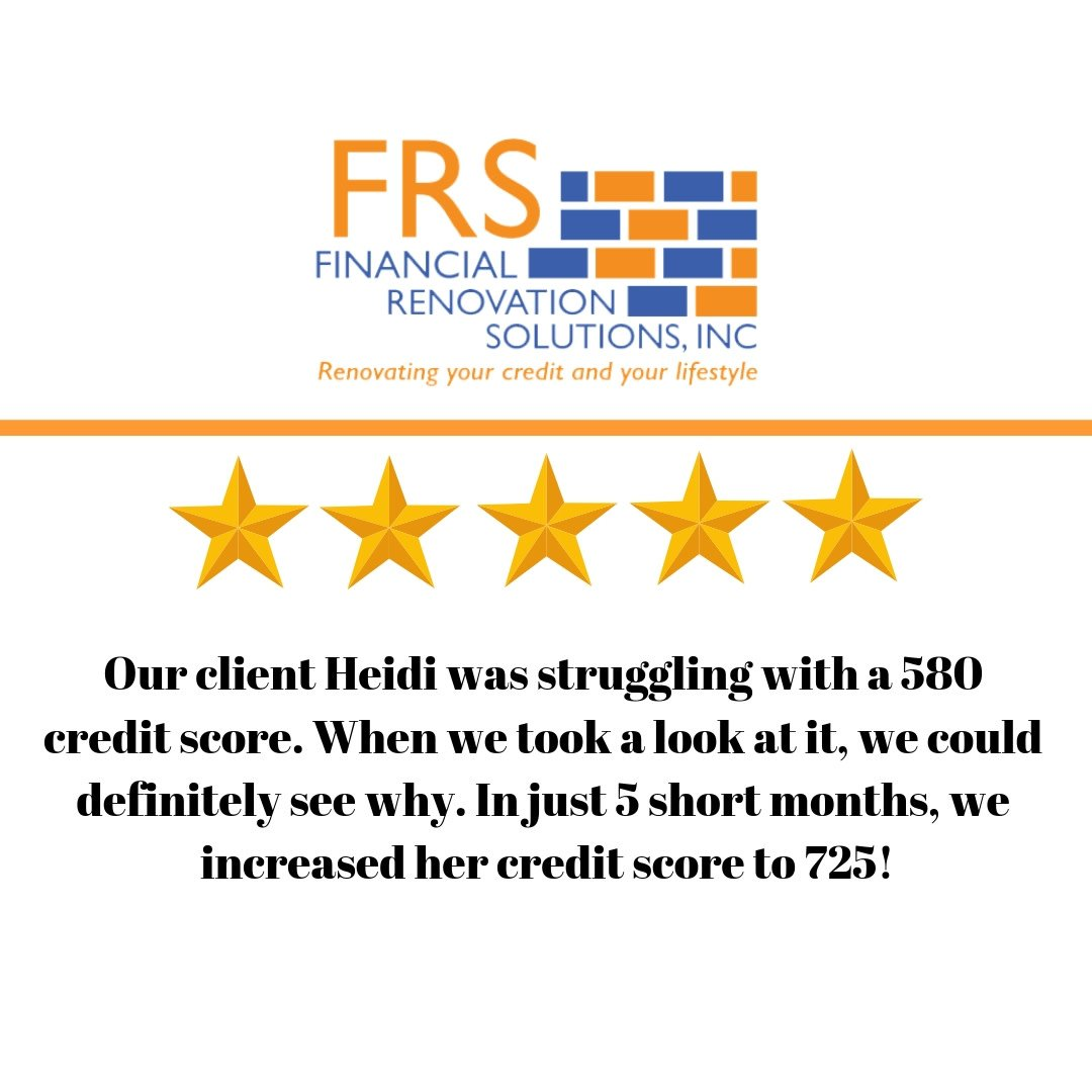 Our client Heidi was struggling with a 580 credit score. When we took a look at it, we could definitely see why. In just 5 short months, we increased her credit score to 725! #success #CreditScore #CreditRepair