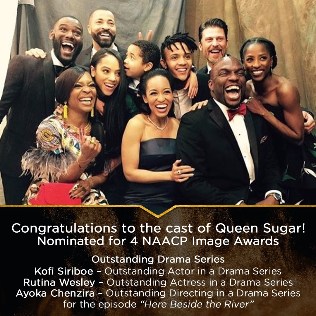 Andddd another one! 🏆Congratulations to the cast of #QUEENSUGAR and #AyokaChenzira for their various @naacpimageawards! We're rooting for you 🖤 .