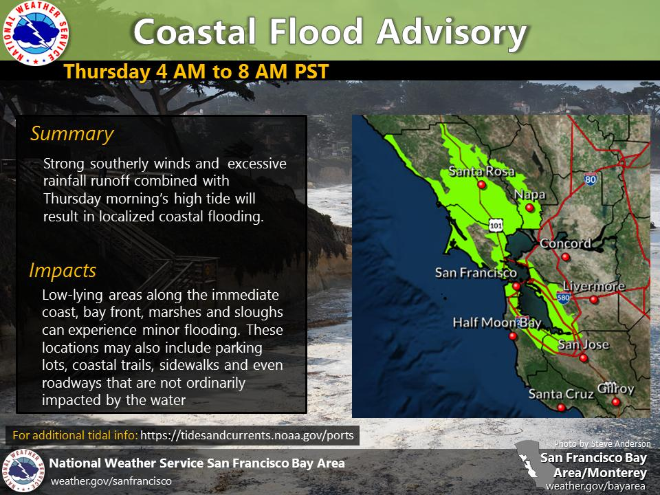 A Coastal Flood Advisory has been issued for parts of the coastline and Bay shoreline from 4 to 8 AM Thursday. Strong southerly winds and excessive rainfall runoff combined with Thursday morning's high tide will result in localized coastal flooding. #CAwx