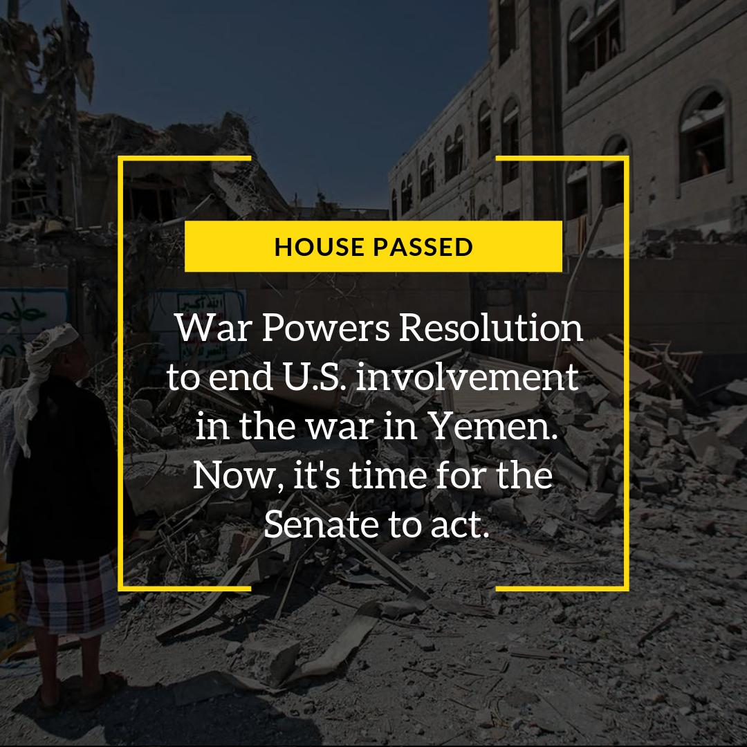Today the house passed our War Powers Resolution to end U.S. involvement in the humanitarian nightmare in Yemen.   Next, @SenBernieSanders, @SenMikeLee and I will force a vote in the Senate.