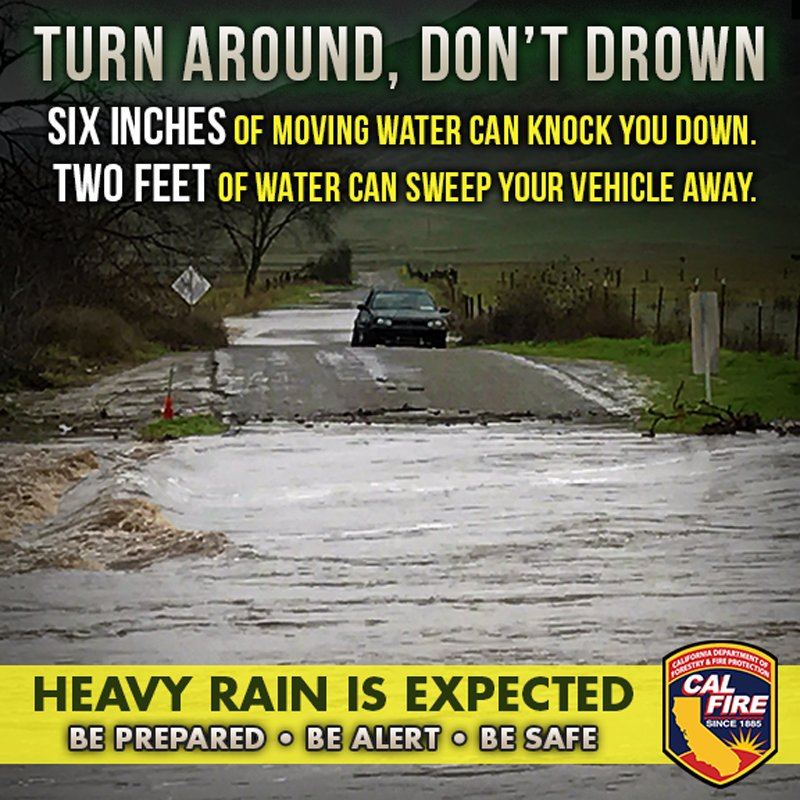 With heavy rains expected across California, we want to take the time to remind you to stay aware of your surroundings and exercise extreme caution while driving. http://www.fire.ca.gov/communications/communications_firesafety_floods…