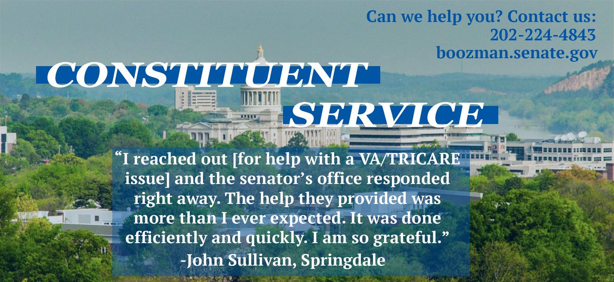 Constituent service is a top priority for me. My staff and I work hard to help Arkansans who experience difficulty with a federal agency. It's nonpartisan and non-negotiable: if you need assistance, we will provide it. Fighting on behalf of Arkansans is our privilege. #ServingAR