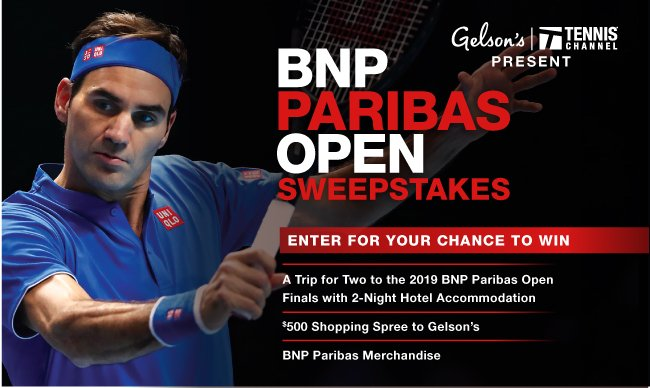 Ready for @BNPPARIBASOPEN? ☀️🌴 Trip to the Men's Final ✅ Trip to the Women's Final ✅ 20% off Tennis Chanel Plus ✅  You can have it all. Enter the @gelsonsmarkets contest to win→ https://t.co/kiwC3KlZCI  *must be a Southern California resident to enter.  #BNPPO19
