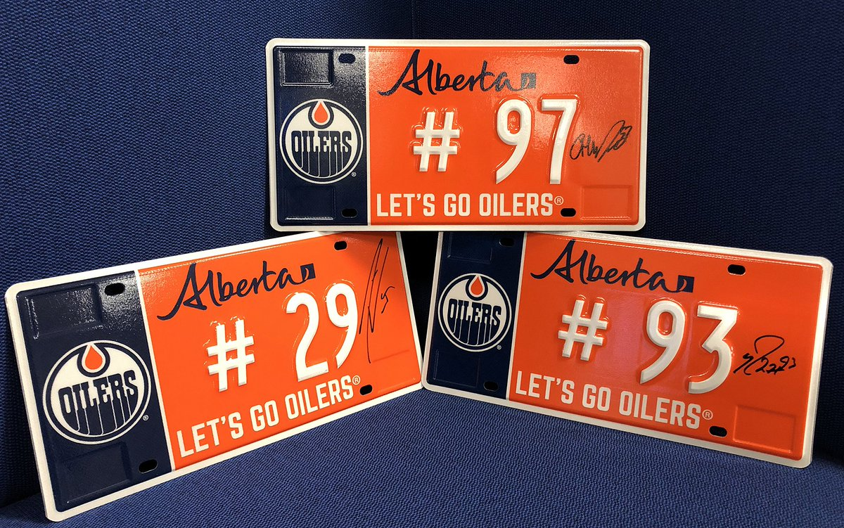 Who will score the first #Oilers goal tonight in Pittsburgh? Retweet & reply for your chance to win one of these exclusive signed license plates! You're not allowed to register these ones but you can support @Oil_Foundation & stop by any Alberta registry to purchase your plate.