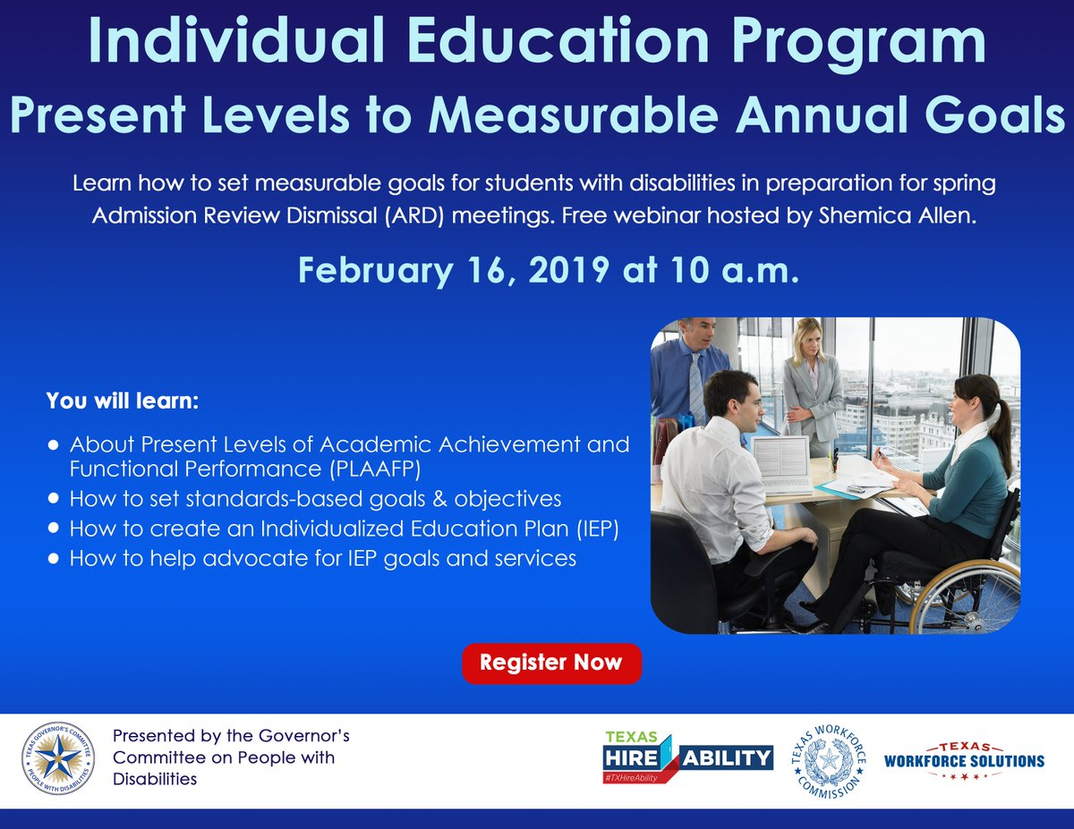 Register now for the a webinar on setting measurable goals for your students with special education, hosted by Shemica Allen. Register at: https://zoom.us/webinar/register/WN_Tx7ZlQHXQii11uTuLTS0zg … #TXHireAbility