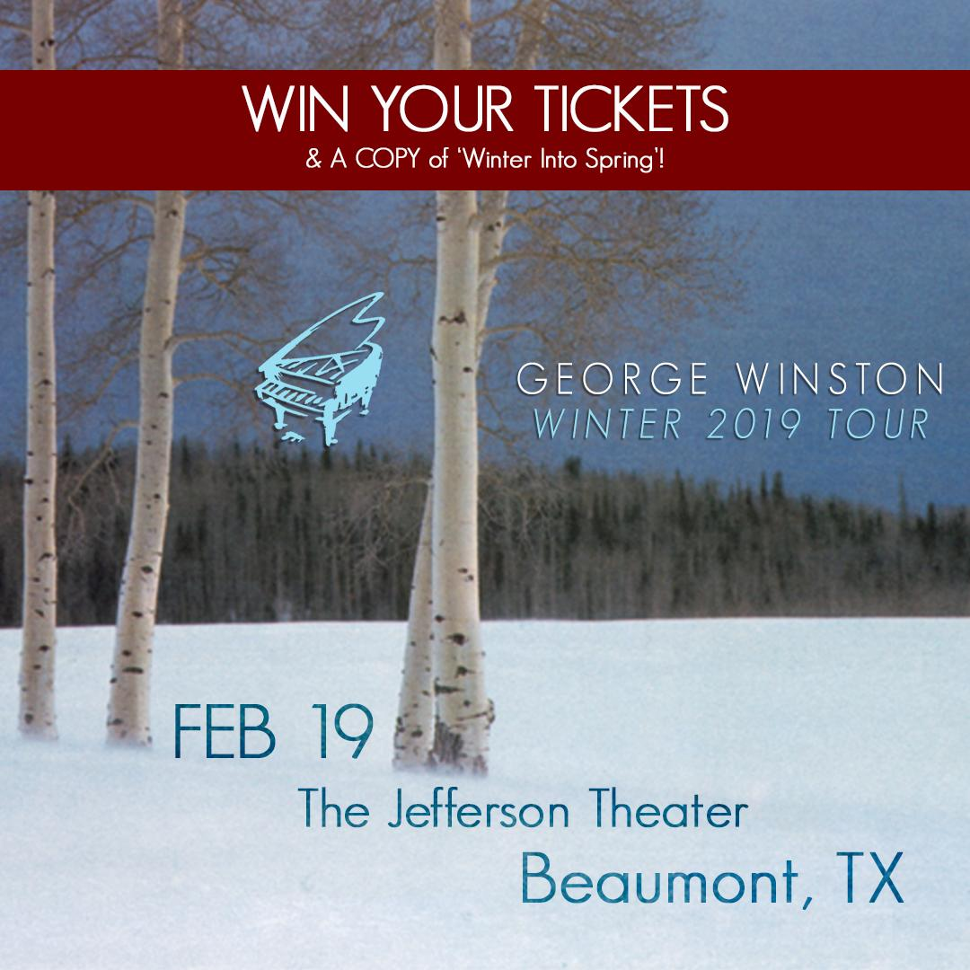"""Follow the link below to enter for a chance to win tickets to An Evening with @gwinstonpiano at The #JeffersonTheatre in #BeaumontTexas, and a copy of his album """"Winter into Spring"""".  Act fast, the giveaway ends at 12:00pm Friday afternoon! https://fanlink.to/BeaumontTicketGiveaway…"""