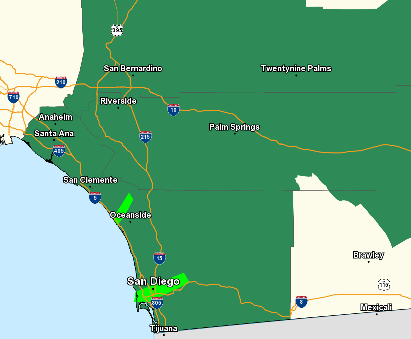 The Flash Flood Watch has been extended to cover the Coachella Valley, all areas in dark green are also under the Flash Flood Watch. The watch will begin late tonight and last through Thursday evening. #cawx<br>http://pic.twitter.com/r6NY0aPwXA