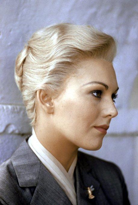 Happy 86th birthday to Kim Novak! Here she is photographed on the set of Alfred Hitchcock\s VERTIGO (1958).