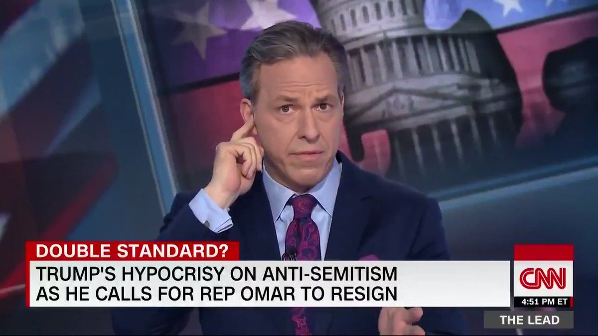 ".@jaketapper shows President Trump's hypocrisy over Democratic Rep. Ilhan Omar's anti-Semitic tweet with a little help from a ""rogue"" control room."
