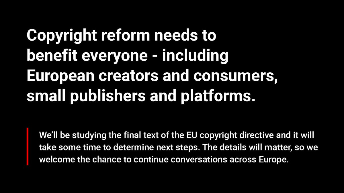 ⚡ Important Article 13 update ⚡ Thanks to everyone who spoke out to #SaveYourInternet. The final text of the EU Copyright directive is out, and here is our initial statement: