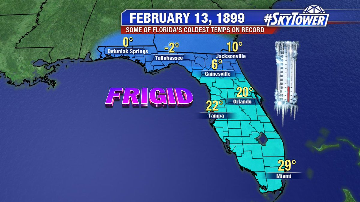 Who remembers? 120 years ago today we had the coldest temperature ever recorded in #Florida, an Arctic like -2° in #Tallahassee. #NeverForget