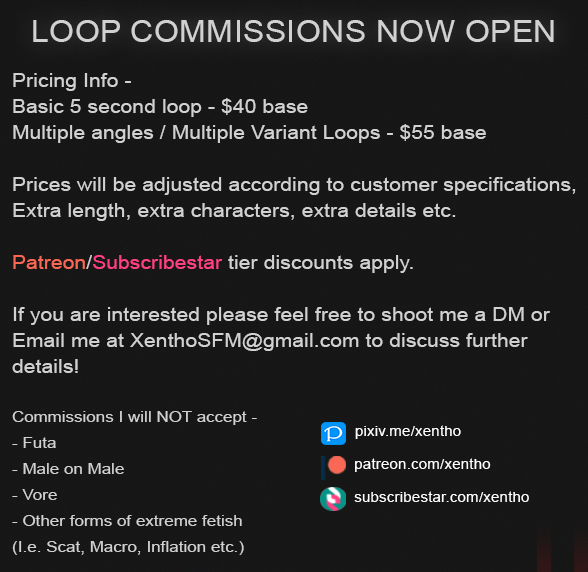 Now taking loop commissions! If interested shoot me a DM or an Email