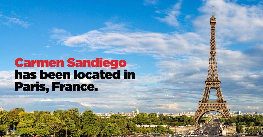 Carmen was in Paris, France! She seems to have slipped through our fingers. Tune in next #TravelTuesday to try to catch Carmen. #WhereintheWorldWednesday #CarmenSandiego #FollowtheFedora
