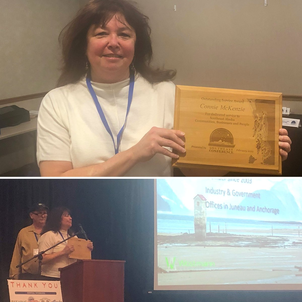 My long-time staff member Connie McKenzie was honored with the Outstanding Service Award today at Southeast Conference's Mid-Session Summit. Connie retired her post as Regional Director for both @lisamurkowski and me in Juneau. Best wishes and snowy ski trails, Connie.
