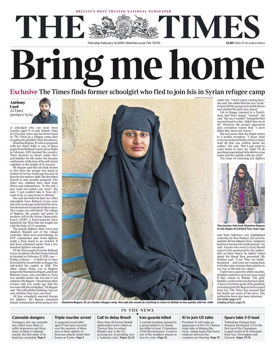 Thursday's TIMES: Bring me home #tomorrowspaperstoday