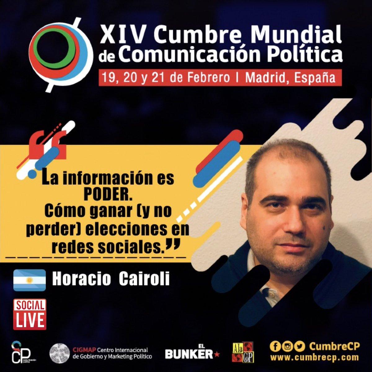 Horacio Cairoli, Co-Fundador de SocialLive, estará compartiendo nuestra experiencia en el monitoreo de redes sociales en campañas políticas y gestión de gobierno. Cumbre Mundial de Comunicación Política Madrid. #cumbrecp https://t.co/y9PK6FUfXy