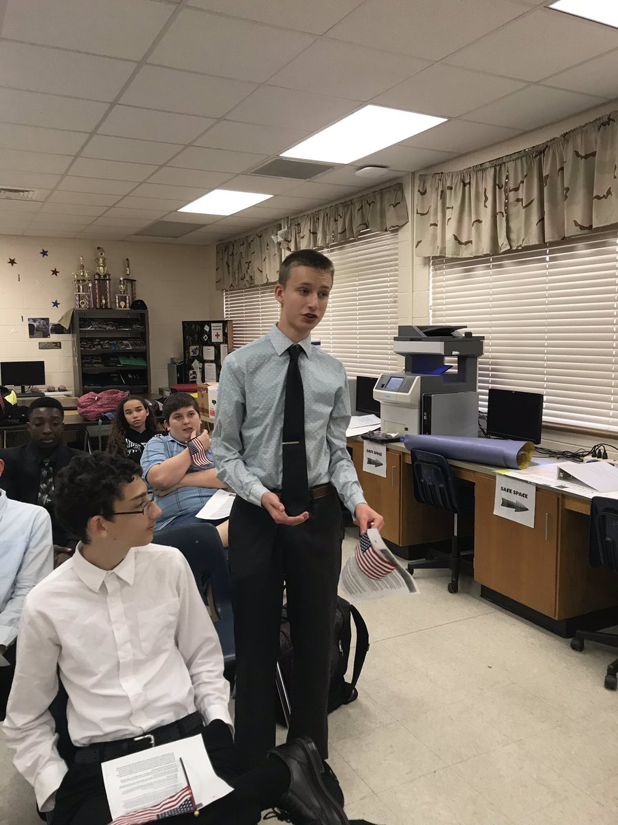 """My son @DeltonaHigh @DHS_Cambridge. So proud of all he is learning in JROTC!!! Thank you @alvesta_lobban Discussing real world issues and taking a position!! A VERY valuable skill for the """"real"""" world!! Love it!!"""