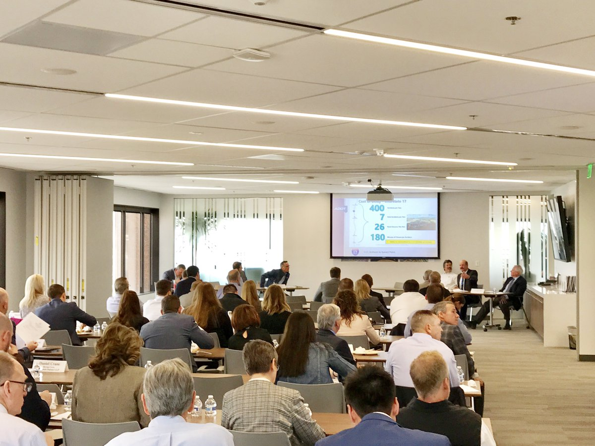 Special thanks to Steve Boschen (@ArizonaDOT), Mathew Walkowiak (@HDR_Inc) and Eric Anderson (@MAGregion) for giving us an overview of where the infrastructure is going to be laid out for #GreaterPHX's economic growth. #TheConnectedPlace